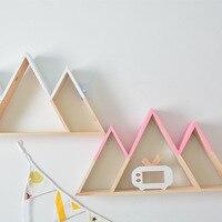 Nordic Style Storage INS Wall Hanging Bookshelf Wooden Girl Heart Snow Mountain Rack Child Frame Toy Organizer