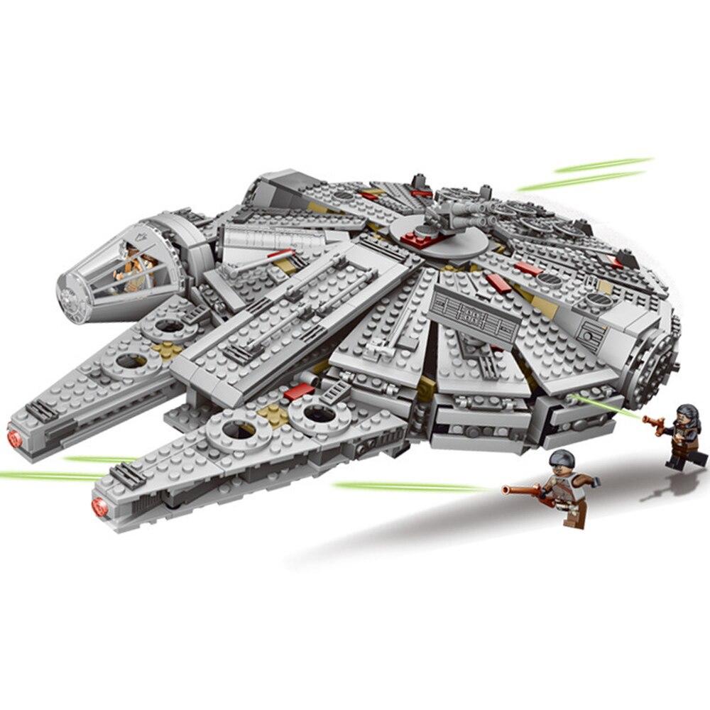 Fuerza despierta conjunto guerras serie Compatible LegoINGLYS del milenio de 79211 halcón figuras modelo bloques de construcción de juguetes para los niños