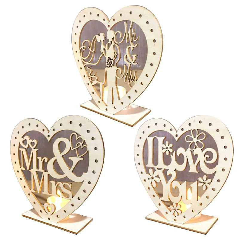 Wedding Wooden Ornaments MR&MRS Heart-Shape Romantic Pendant Plate With LED Light Ornament Home Decor Wedding Decoration Festiva