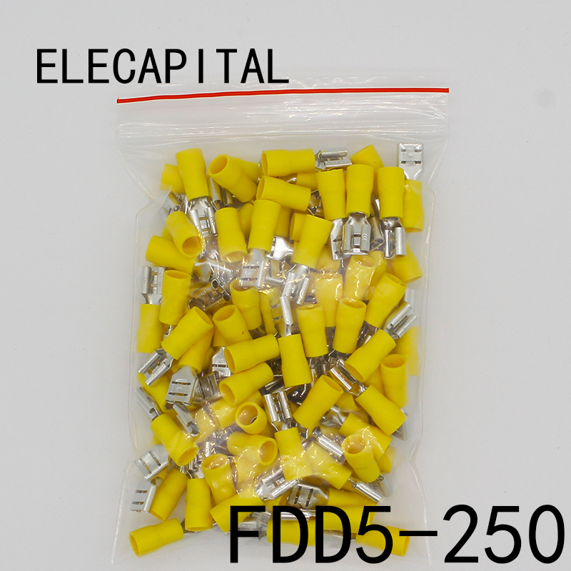 FDD5.5-250 FDD5-250 Female Insulated Electrical Crimp Terminal for 4-6mm2 wire Connectors Cable Wire Connector 100PCS/Pack FDD fdd2 250 female insulated electrical crimp terminal for 1 5 2 5mm2 connectors cable wire connector 100pcs pack fdd2 5 250 fdd