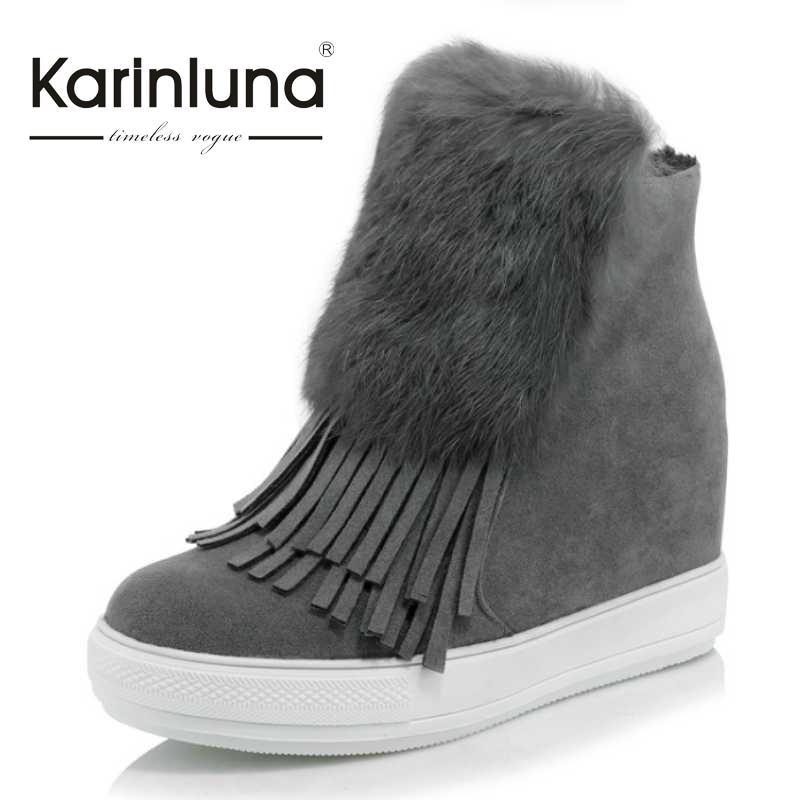 ФОТО KarinLuna Size 32-45 Cony Hair Women Ankle Fringe Boots Round Toe With Fur Platform Shoes Zip Hidden Wedge Autumn Winter Boot