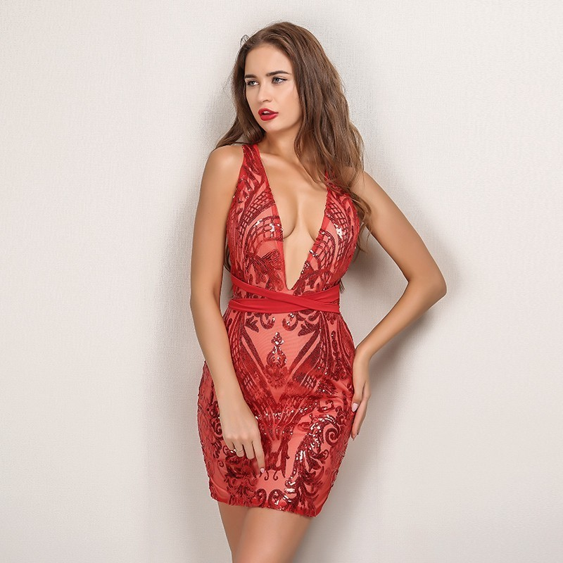 Yissang Best Sexy Sequin Red Dress For Christmas Party Elegant V Neck  Backless Womens Bandage Bodycon Dresses Club Night Wear-in Dresses from  Women s ... 5469e97ca555