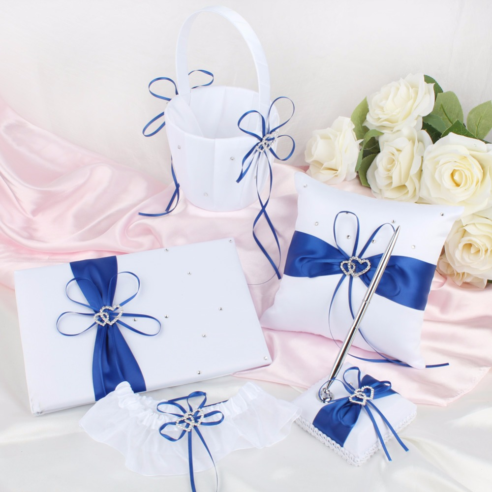 5pcs Wedding Guest Sets Guestbook Pen Cushion Ring Pillow Flower Basket Wedding Decoration Event Party Supplies 8 Colors