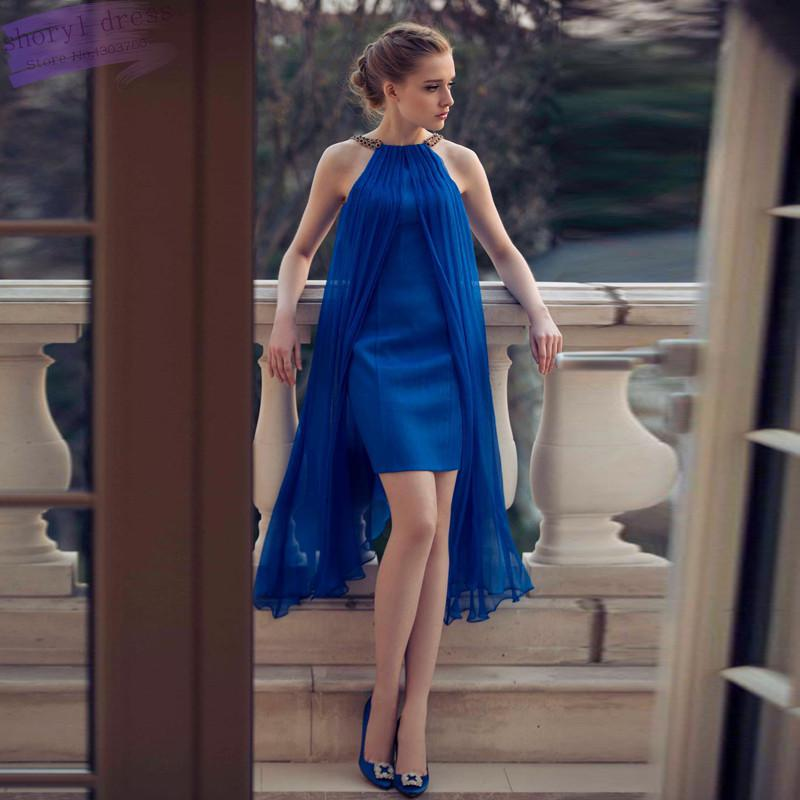 Fashion Sexy   Cocktail     Dresses   Vestido De Festa Royal Blue Satin Short New Design Scoop Off Shoulder Mini Prom Gowns 2018