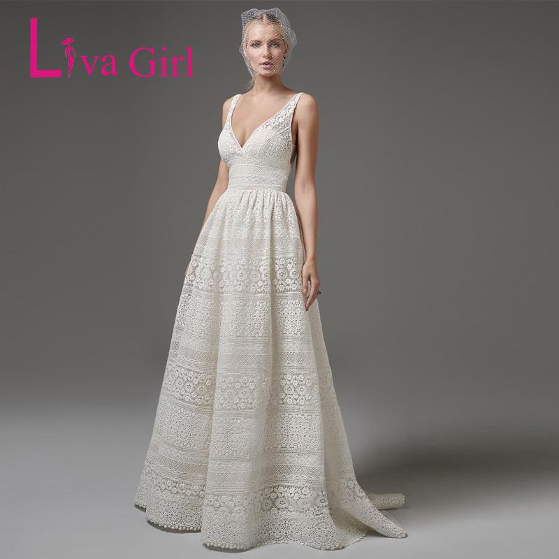 Liva Girl White Elegant Lace Party Dress Sexy V Neck Sleeveless Women Backless Maxi Dresses Prom