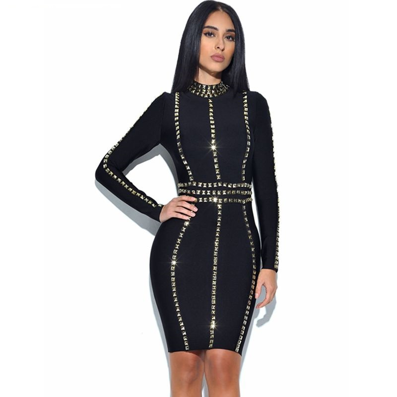 Babatique Robe Bandage Cocktail Manches Longues Femmes Court Robes 2017 Haut Pic Col as Printemps Moulante Noir À Herve RqALc354j