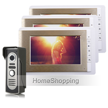 FREE SHIPPING 7″ Home Color Screen Video Door phone Intercom System With Doorbell Camera + 3 Golden Monitors IN STOCK Wholesale