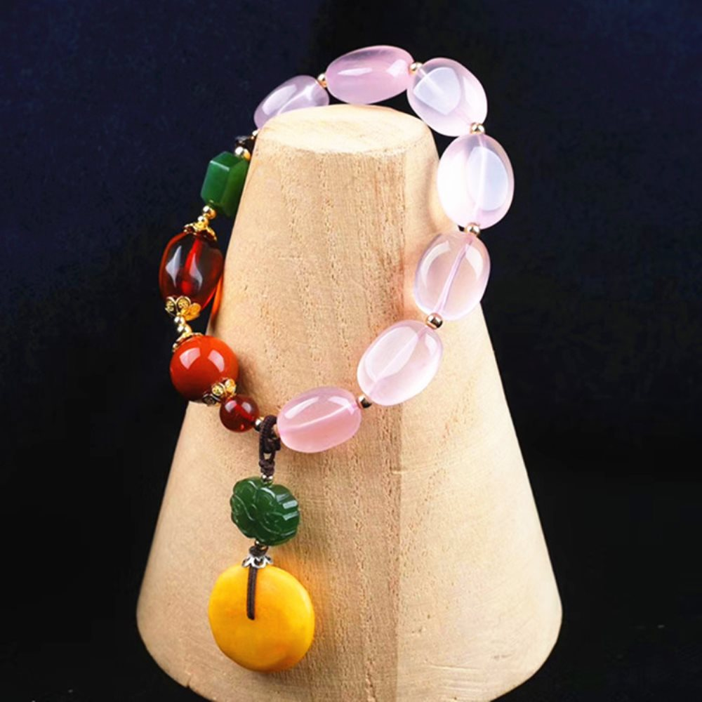 fine jewelry factory wholesale SGARIT brand ethnic natural yellow amber red agate jade pink crystal diy bead bracelet for women все цены
