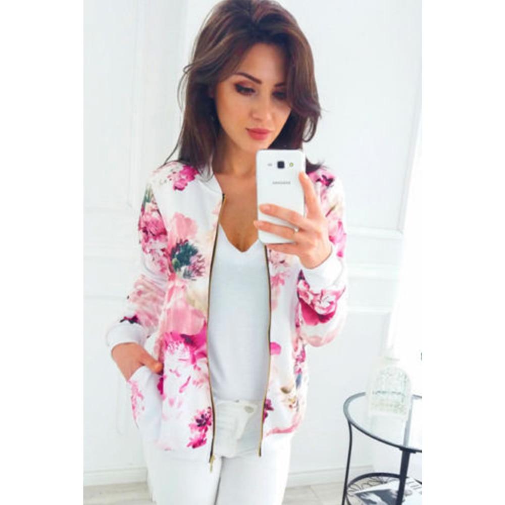 2019 Spring Casual Jacket Women Floral Print Zipper Long Sleeve Women's Slim Jackets Pockets Outwear Ladies Tops Plus Size 5XL