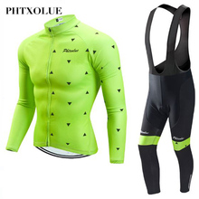Phtxolue Spring Autumn Long Sleeve Cycling Jersey Set Clothing Maillot Ropa Ciclismo Bicycle Wear Bike Uniform