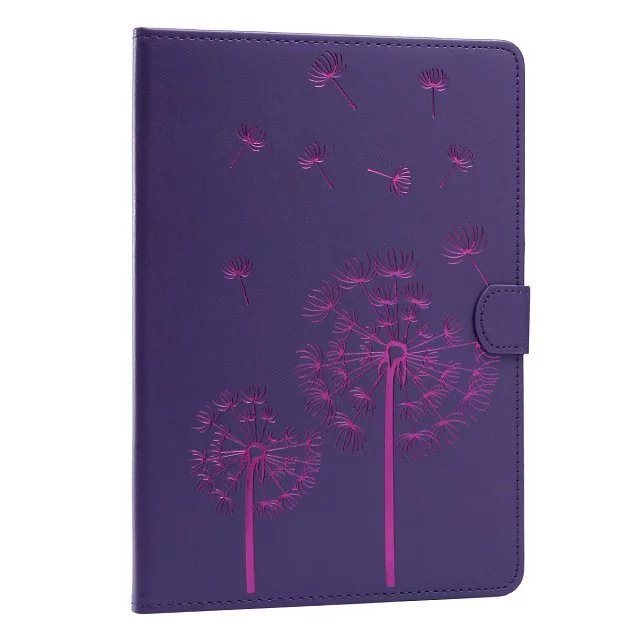 цены на Purple dandelion pattern pu Leather flip Case For apple iPad mini2 3 4 ipad2 3 4 Air1 2 pro 9.7case stand cover free shipping