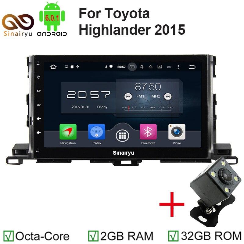 Octa core 2 DIN 10.1 Android 6.0 автомобиль Радио DVD GPS для Toyota Highlander 2015 с 2 ГБ Оперативная память bluetooth WI-FI 32 ГБ Встроенная память зеркало-link