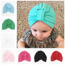 Yundfly India Style Kids Turban Hat Cotton Blend Newborn Beanie Stylish Top Knot Caps Photo Props Children Shower Gift