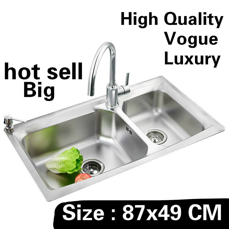 Free shipping Home luxury wash vegetables big kitchen double groove sink food-grade 304 stainless steel hot sell  87x49 CMFree shipping Home luxury wash vegetables big kitchen double groove sink food-grade 304 stainless steel hot sell  87x49 CM