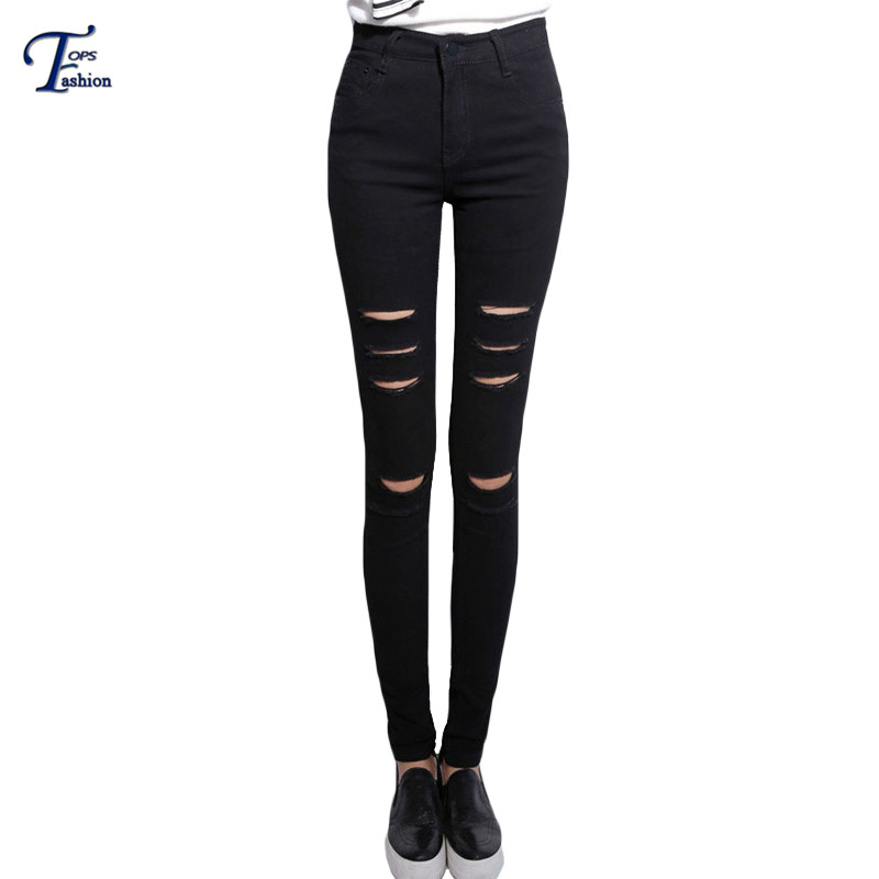 Black Slim Ripped Denim Pants Women Fitness Long Trousers Summer 2016 Casual High Waist Button Fly Skinny Pockets Jeans
