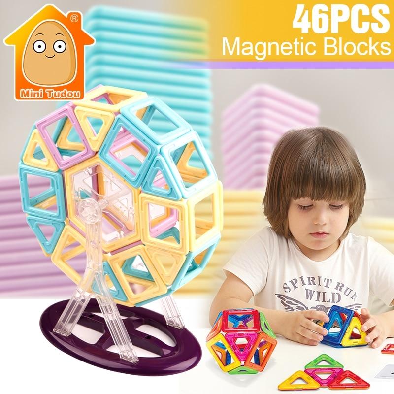 Kids 46PCS Big Size Magnetic Blocks Building Tiles Brick Toys Ferris Wheel Designer Enlighten DIY Magntic Toys For Children