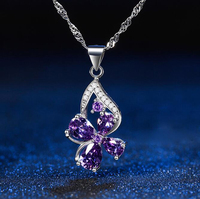 Heart Arrows Cutting AAA Premium Purp Zircon Charms Snowflake Pendant 925 Sterling Silver Necklace Wave