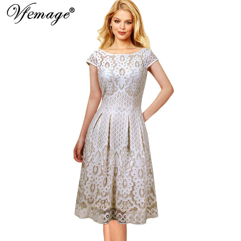 Vfemage Womens Vintage Bloemen Kant Pockets Cap Mouwen Plisse Cocktail Wedding Party Fit en Flare Thee Skater A-lijn Jurk 1623