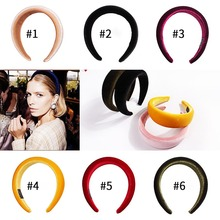 Candygirl 11 Satin Colors Thick Sponge Velvet Head Band 5CM Wide Plastic Hairbands Bohemian Fashion Hair Bands Accessories Women