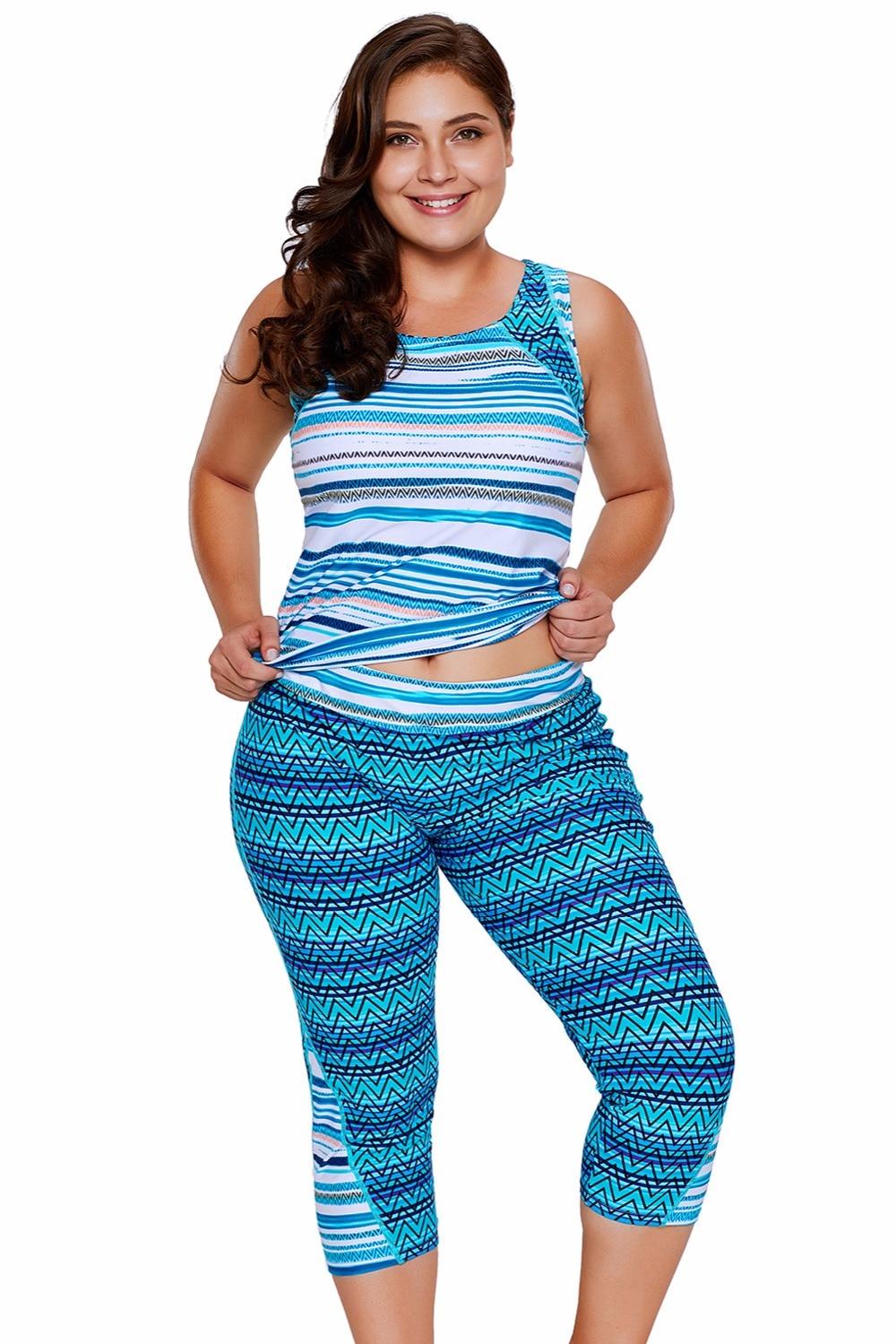 Two Piece Suits Multiple Zigzag Stripes Print Tankini Top and Capris Set Tankini Swimsuit Swimwear Women