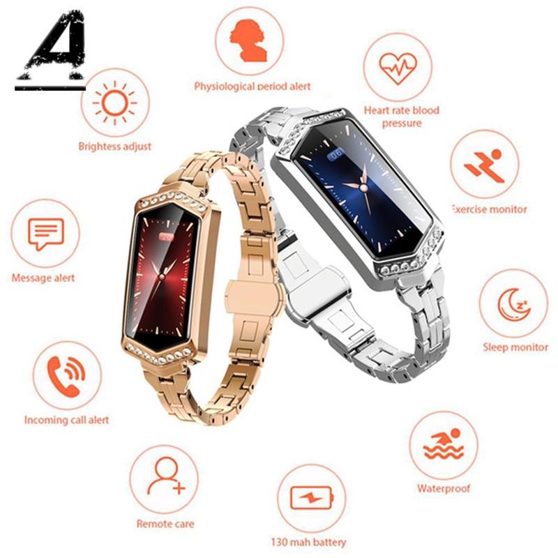B78 dames montre intelligente de luxe femmes Scomas Bluetooth dame Cycle physiologique IP67 Fitness suivi surveillance IOS Android