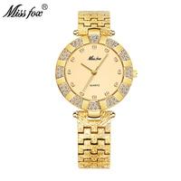 MISSFOX Для женщин часы Элитный бренд Модные Повседневное женские часы Для женщин кварца, алмазов Женеве леди браслет наручные часы для Для жен