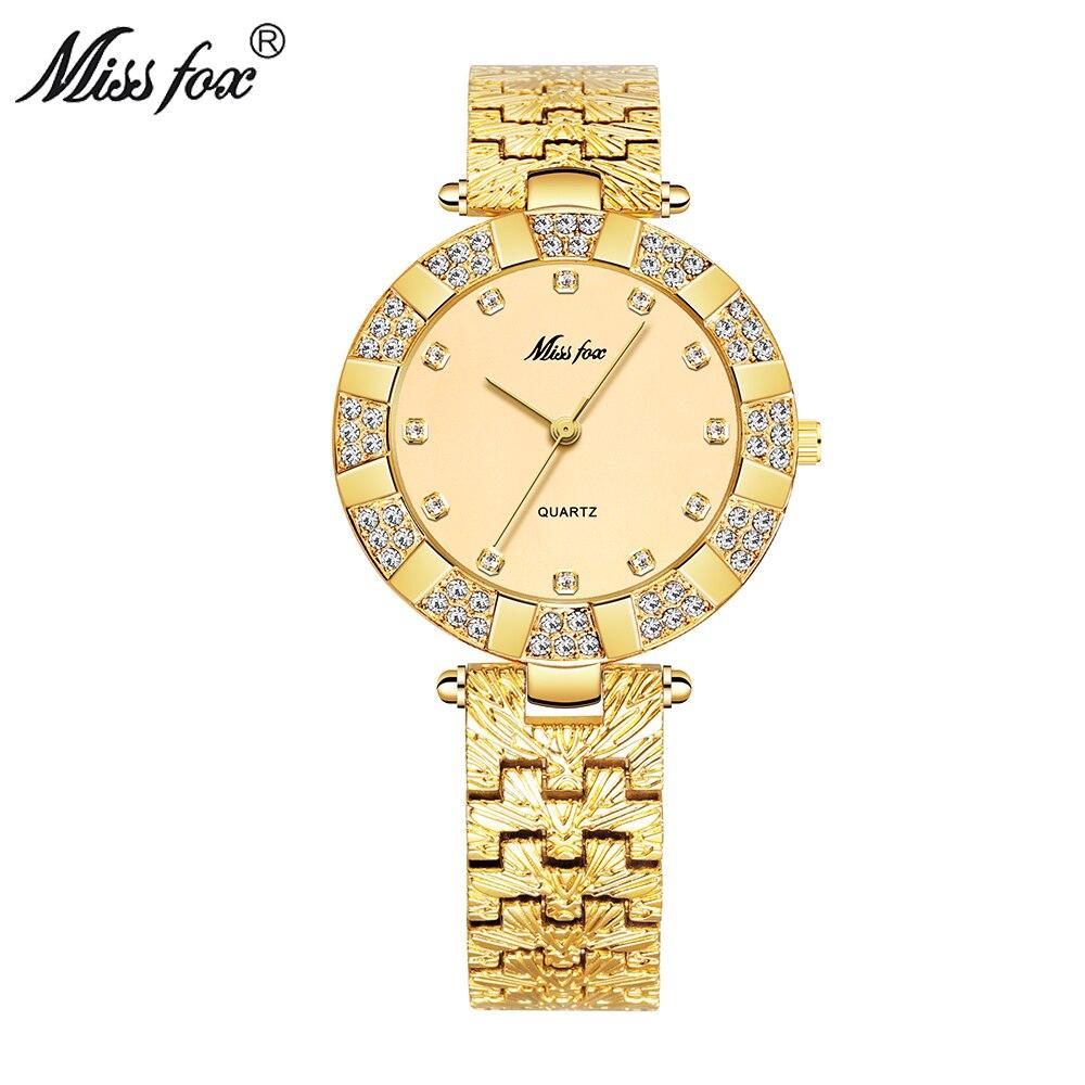 MISSFOX femmes montres de luxe marque décontracté dames montre femmes Quartz diamant genève dame Bracelet montres pour femmes