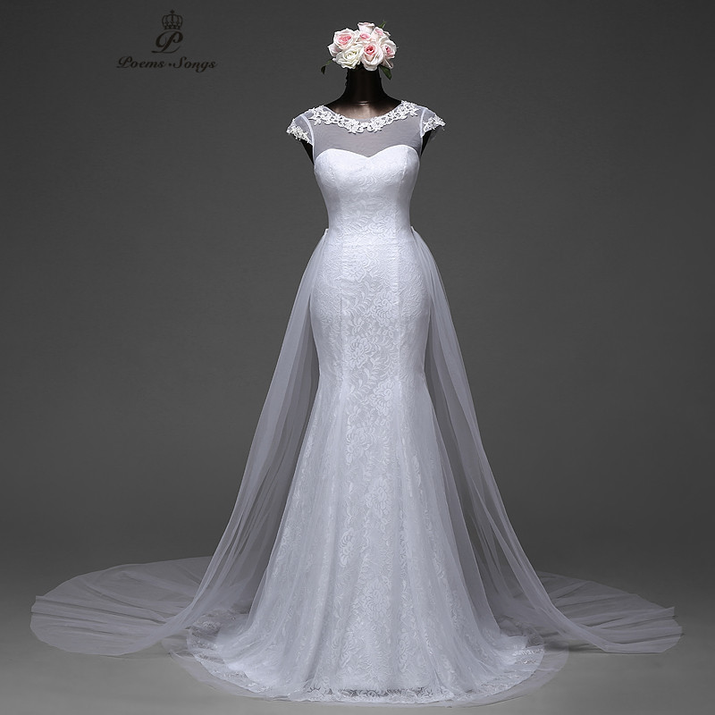 Poemssongs Elegant Sexy Sleeve Mermaid Wedding Dress Removable Skirt  With A Train And Lace Back Vestido De Noivas 2017ball Gown