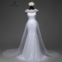 Poemssongs Elegant Sexy Sleeve Mermaid Wedding Dress Removable Skirt With A Train And Lace Back Vestido
