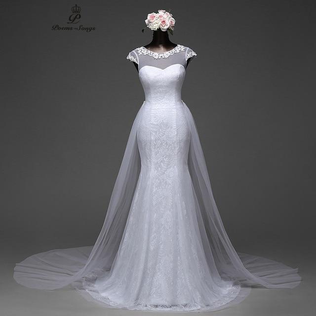 Poemssongs elegant sexy sleeve mermaid wedding dress for Mermaid wedding dress with detachable train