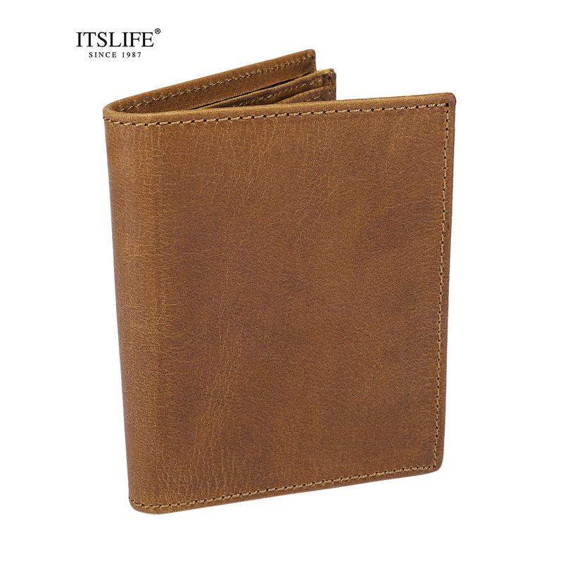 Mens New Genuine Leather Vertical wallet crazy horse leather short card holder vintage cowhide money Purse male classic wallet
