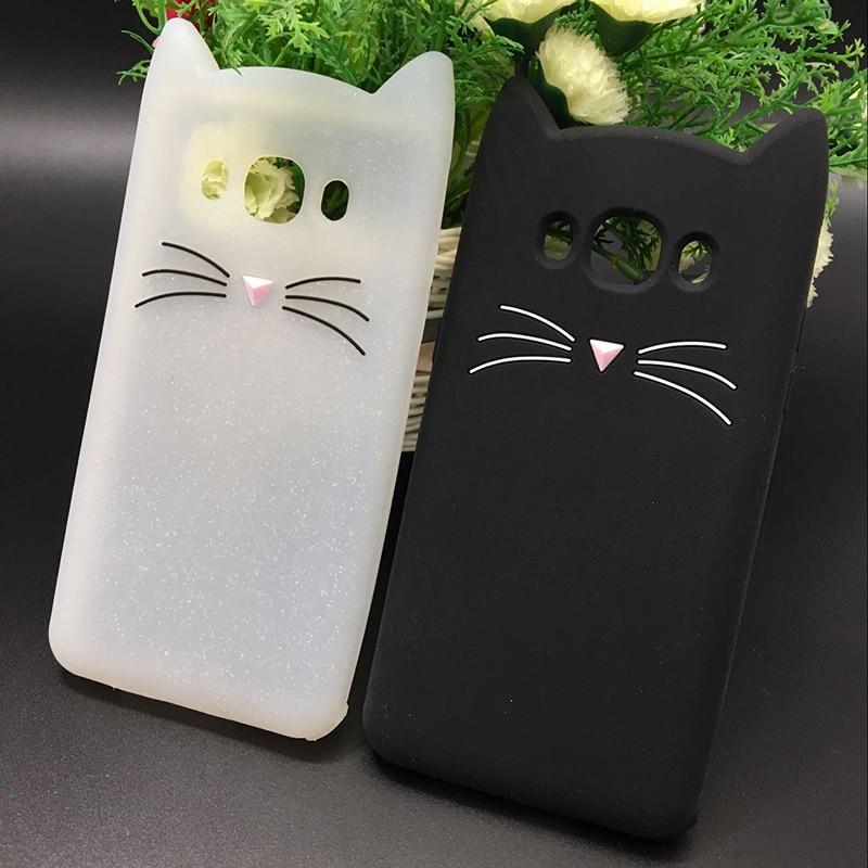 Cyato New Japan Cute 3D Glitter Beard cat soft silicon phone case For samsung galaxy j510 j3 j7 j5 2016 j710 Cartoon back cover