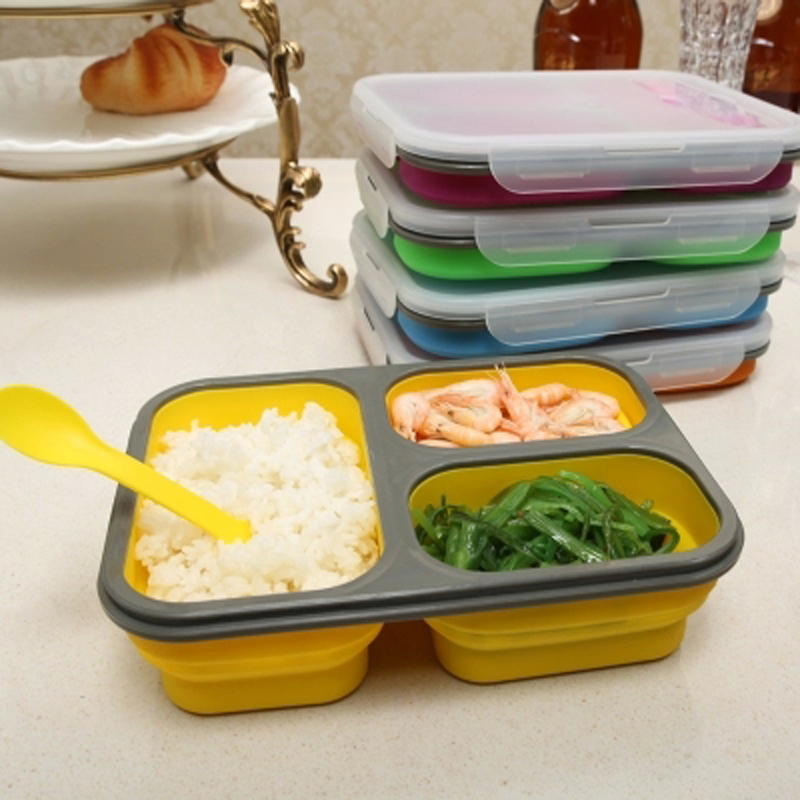 Collapsible Silicone Lunchbox Bento Folding Portable Lunch Box With Fork 3 Grids Microwave Dinnerware Tools travel picnic school