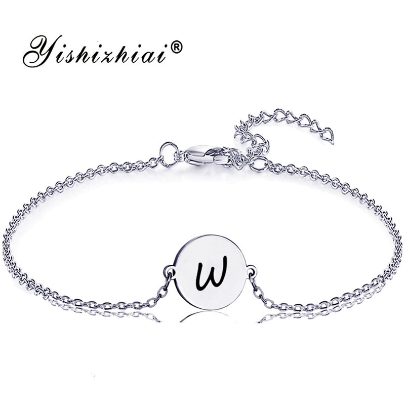 15d6205ca0612 US $1.97 34% OFF|Dainty Initial Letter Bracelet Gold Stainless Steel Name  Charm Bracelets Women Personalized Jewelry Bridesmaid Gift-in Chain & Link  ...