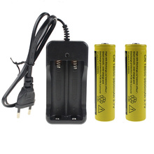 Rechargeable Battery For 2*18650 9800mah Lithium Battery +1*Double Slot Charger 110V-240V EU US Plug With 80CM Wire