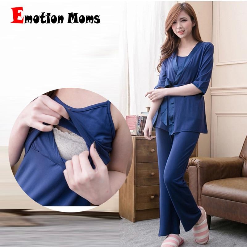 Emotion Moms 3pcs Maternity sleepwear Nursing nightgown Maternity Breastfeeding clothes for Pregnant Women pregnancy Pajamas цена и фото