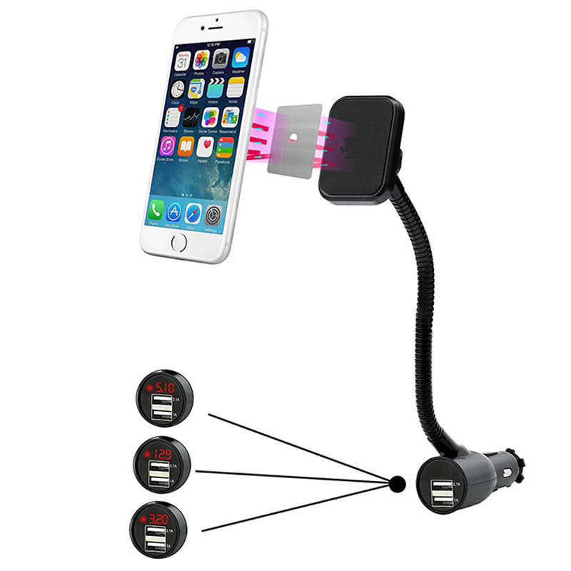 Magnetic Universal Car Phone Holder Car Charger Cigarette Lighter Power Adapter LED Display  With 3.1A Dual USB