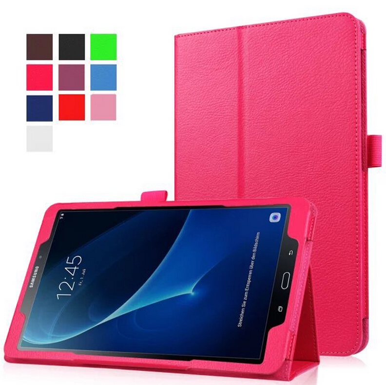 Fashion Classic litchi pattern pu leather stand holder case cover for Samsung Galaxy Tab A A6 10.1 P580 P585 +stylus pen