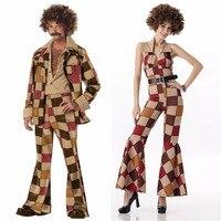 Hot Men 60s 70s Retro Hippie Costume Vintage Cosplay 1960s 1970s Go Go Girl Men's Disco Costumes Halloween Costume Jumpsuit