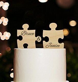 Holz Puzzle Hochzeitstorte Topper Paar Mr Mrs Personalisierte Name