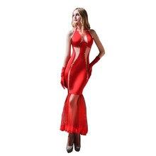fe599023ddbcf مثير شهر العسل المرأة الأحمر حورية البحر غريبة فساتين شبكة طويلة الصلبة  البوق رداء عالية الجودة الزفاف ليلة ملابس النوم