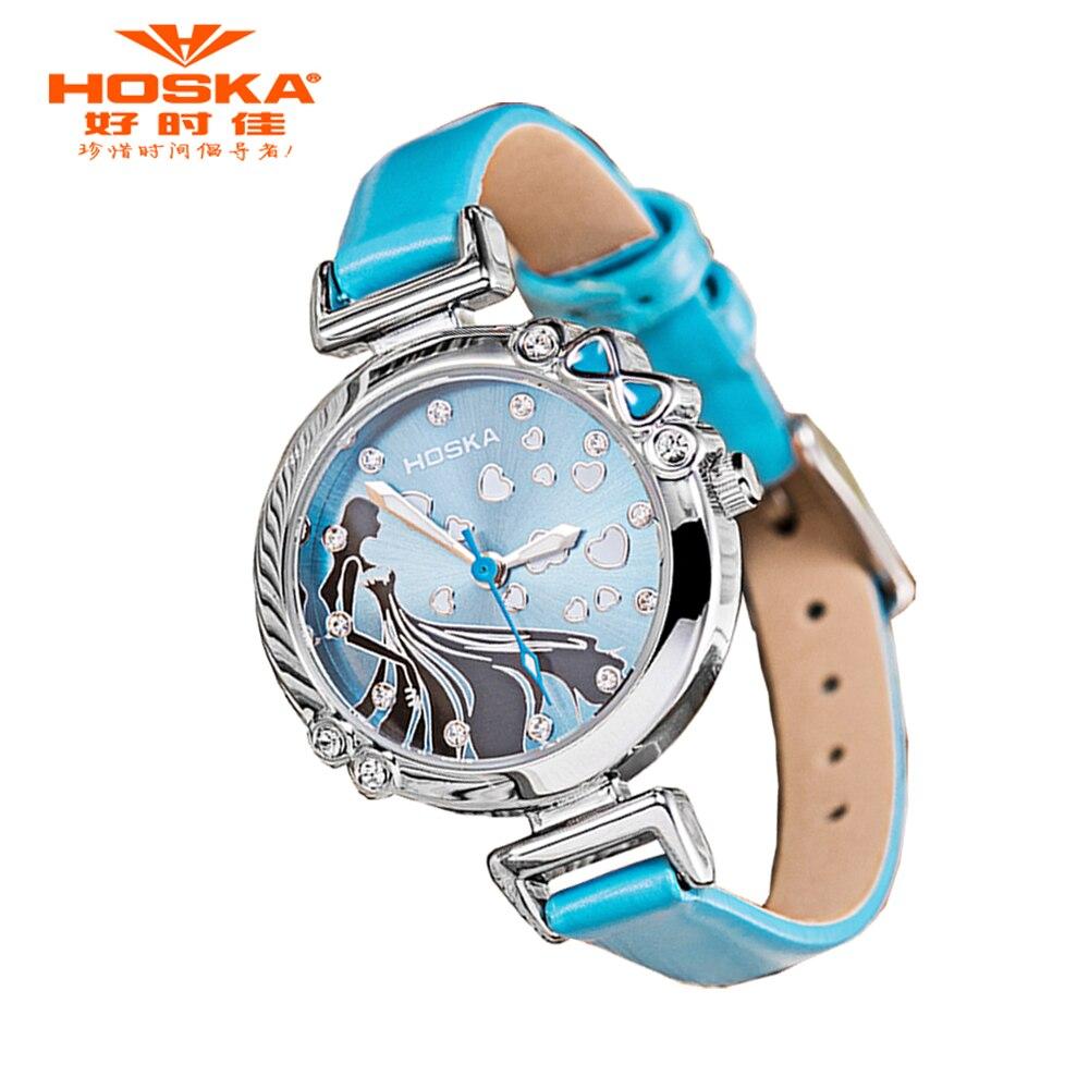 f4522ce3658 Hoska novas crianças dos desenhos animados relógio de presente princesa relógios  menina moda infantil estudante bonito couro esportes analógicos relógios de  ...