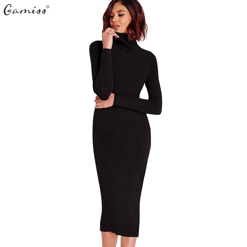 Gamiss Для женщин Осень зимний свитер вязаный Платья для женщин тонкий эластичный Водолазка с длинным рукавом Sexy Lady Bodycon халат Платья для женщин Vestidos