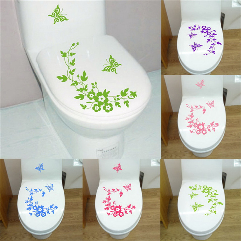 Toilet Butterfly Flower Vine Wallpaper Vinyl Wall Stickers For Bathroom Sticker New Year Home Decoration Accessories Decor Gifts