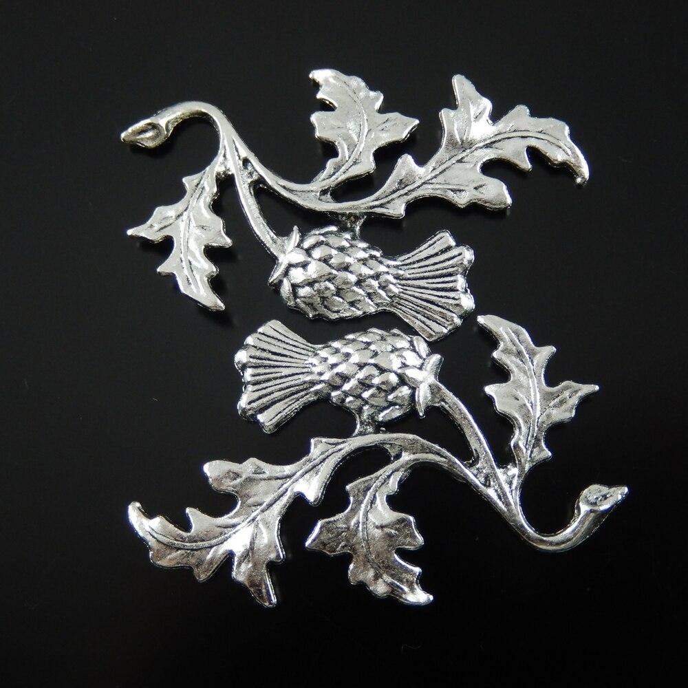 10 Teile/paket Top Großhandel Antiqued Stil Silber Halskette Anhänger Ton Legierung Distel Pflanzen Schmuck Zubehör 47*32*2mm Au32136 Top Wassermelonen