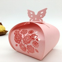 100pcs Laser Cut Hollow Flower Rose Butterfly Candy Box Chocolates Boxes For Wedding Party Baby Shower Favor Gift
