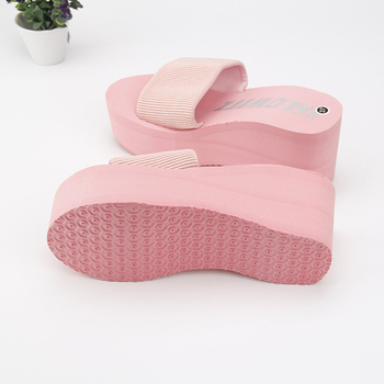 2019 Cheap Simple Chanclas Elastic Fabric Slippers Women High Heel Beach Flip Flops Summer Platform Sandals Zapatos Mujer Lady 1