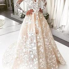 GOOFLORON Champagne Lace Wedding Dresses Long Sleeves