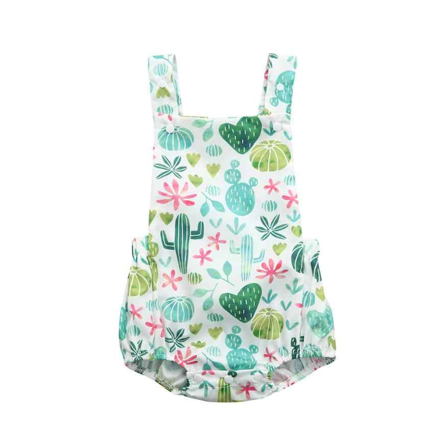 Toddler Baby cactus Floral Print Vest Sleeveless Backless Romper Jumpsuit Fashionable summer baby suit new August 15