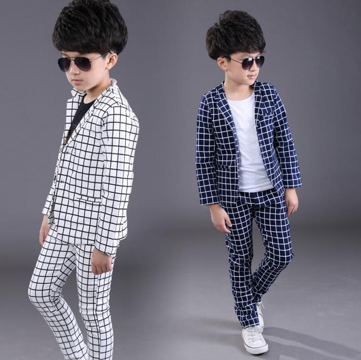 New England Style White Blue Black Boys Casual Blazer Jacket +Pant Two Suits For Kids Clothes 2-12T Children's Blazer KS-1606 2018 new arrival boy suits england style boys blazer long sleeve plaid for kids clothes